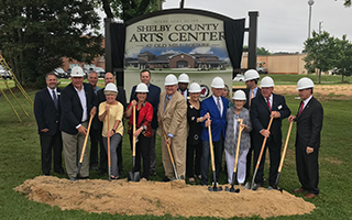 Shelby County Arts Center sign and groundbreaking